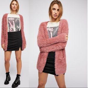 FREE PEOPLE Faux Fur Cardigan NWT SZ M Dusty Pink